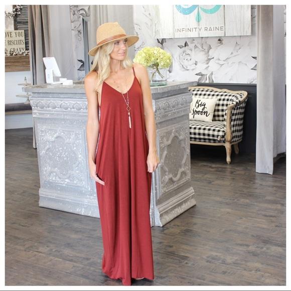 Infinity Raine Dresses & Skirts - Brick V-Neck Cami Maxi Dress